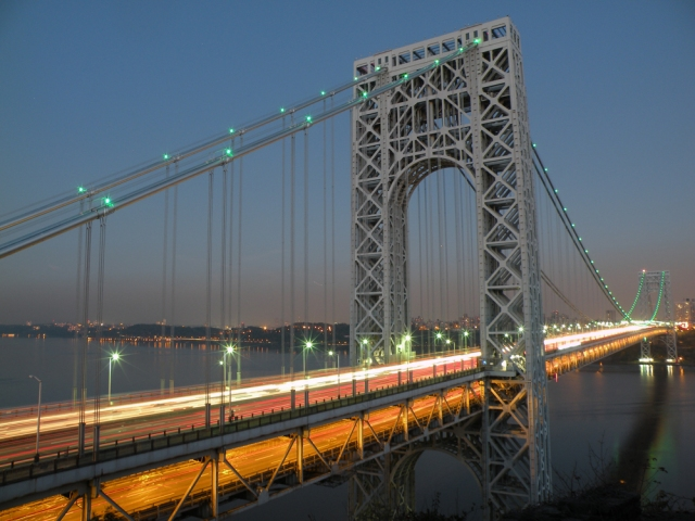 The George Washington Bridge is seen from the Fort Lee Historic Park - Fort Lee, NJ - Nov 2, 2011