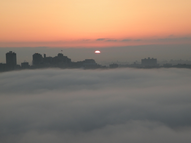 Sunrise is seen from Fort Lee, NJ - Mar 17, 2012